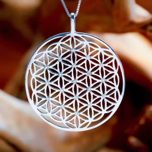 Inlaid Flower of Life Pendant Silver (SOL Pattern)
