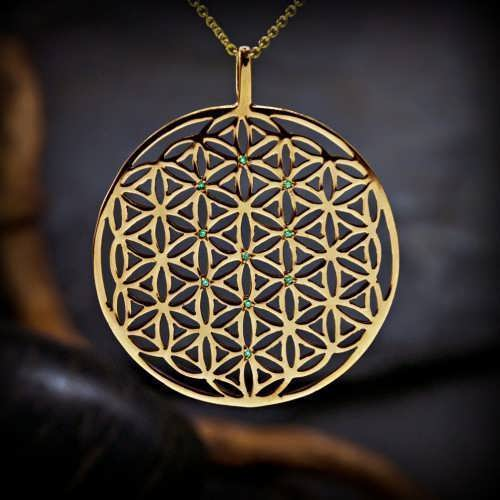 Inlaid Flower of Life Pendant Gold (TOL Pattern)