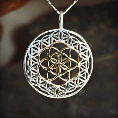 Flower of Life Silver with Seed of Life Gold