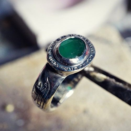 Four Winds Ring with Emerald
