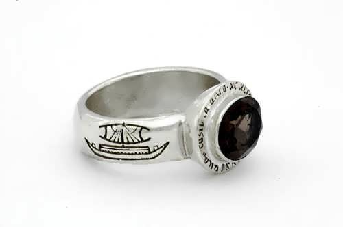 Four winds ring silver with Smoky Quartz