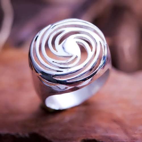 Golden Spiral Silver Ring