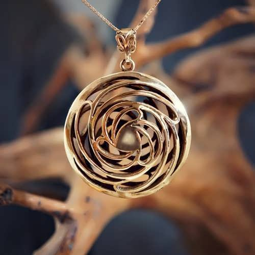 Double Helix-Golden Mean pendant Gold