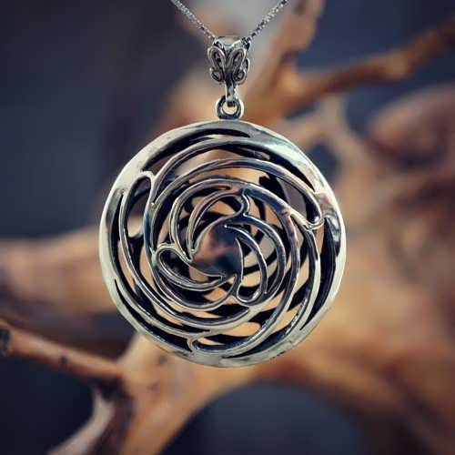 Double Helix-Golden Mean pendant Silver