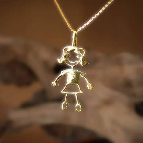 Happiness Pendant (girl) Gold