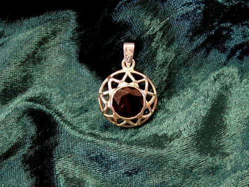 Inlaid Enneagram gold with Smoky Quartz
