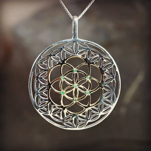 Inlaid Flower and Seed of Life Silver and Gold