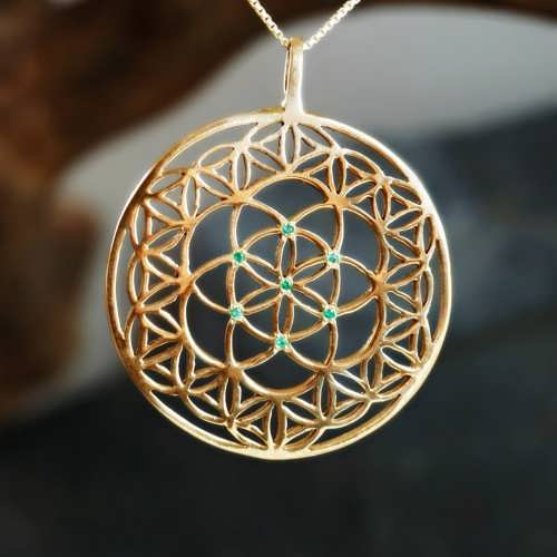 Inlaid Flower and Seed of Life Gold
