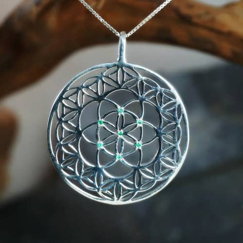 Inlaid Flower and Seed of Life Silver