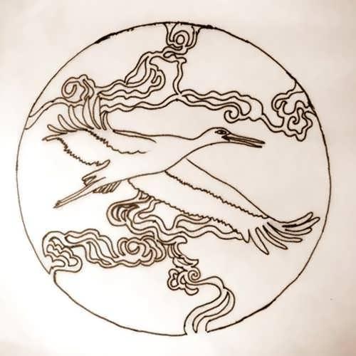 Japanese Stork Pendant Silver