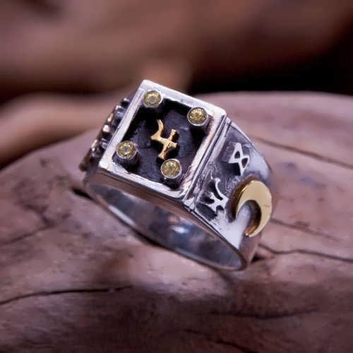 Jupiter Exaltation Talisman Ring Silver and Gold