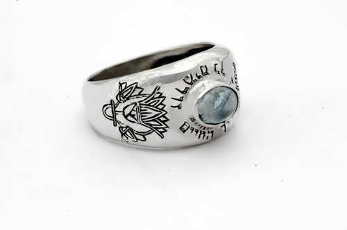 Lotus ring silver with Aquamarine