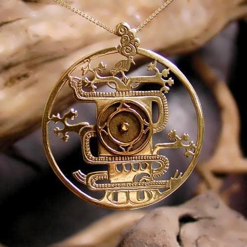 Mayan World Tree Pendant Gold