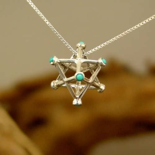 Inlaid merkaba Silver Medium with Turquoise
