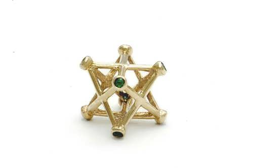 Inlaid merkaba gold medium with Emerald