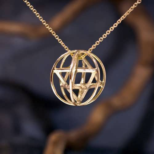 Merkaba With Prana Sphere Gold Medium
