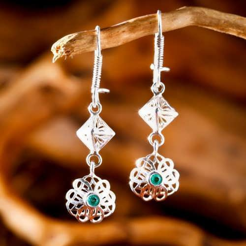 Nefertiti Lotus Earrings Silver