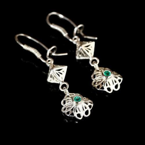 Nefertiti Lotus Earrings Silver