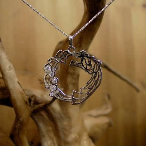 Ouroboros Pendant Silver With Zircons
