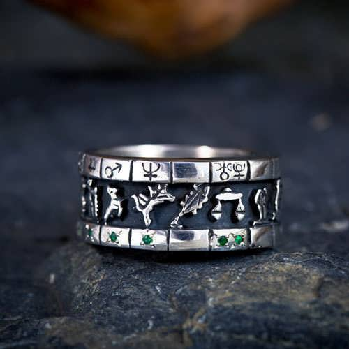Personalized Cosmic Sigil Talisman Ring - Silver