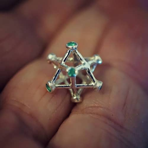 Inlaid Merkaba Small with Emerald