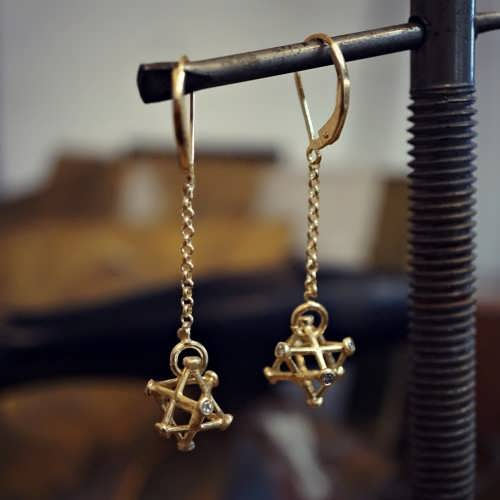 Inlaid Merkaba Earrings Gold Small