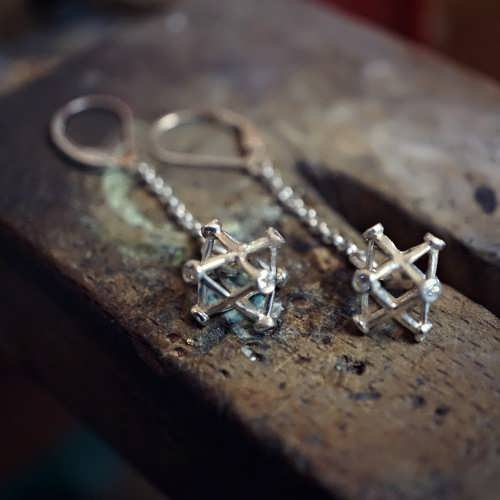 Inlaid Merkaba Earrings Silver Small