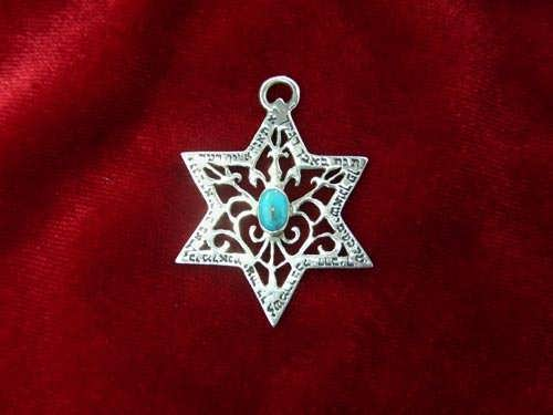 Star of David for protection silver with Turquoise