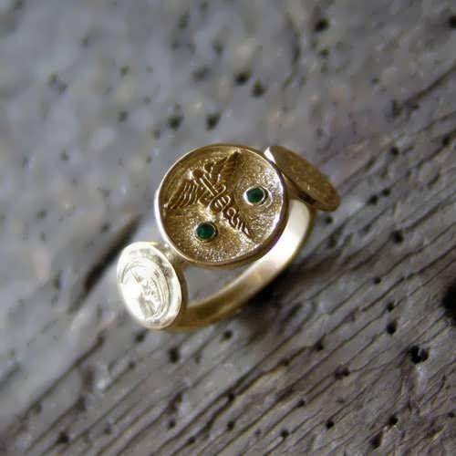 Alchemical Wedding Talisman Ring Gold