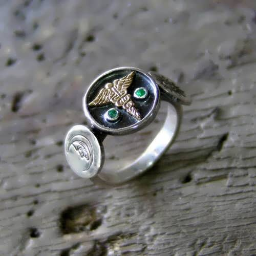Alchemical Wedding Talisman Ring Silver and Gold