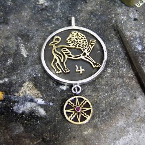 Jupiter-Leo Kazimi Talisman Pendant Silver and Gold