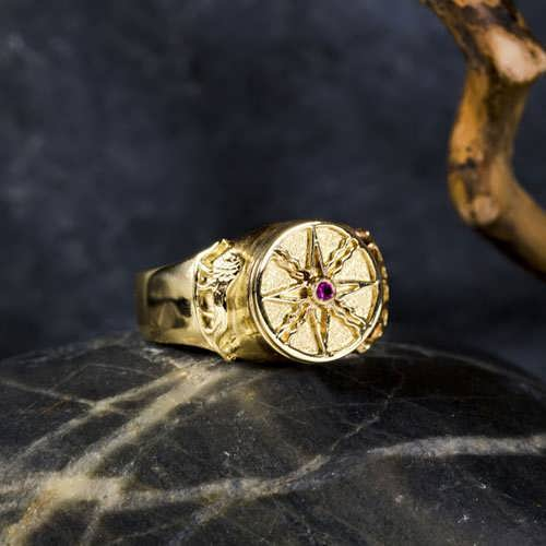 Sun in Leo Talisman Ring Gold 14K