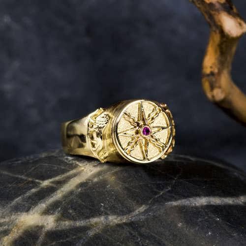 Sun in Leo Talisman Ring Gold 14K