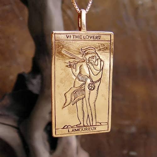 Tarot Lovers Card Pendant Gold