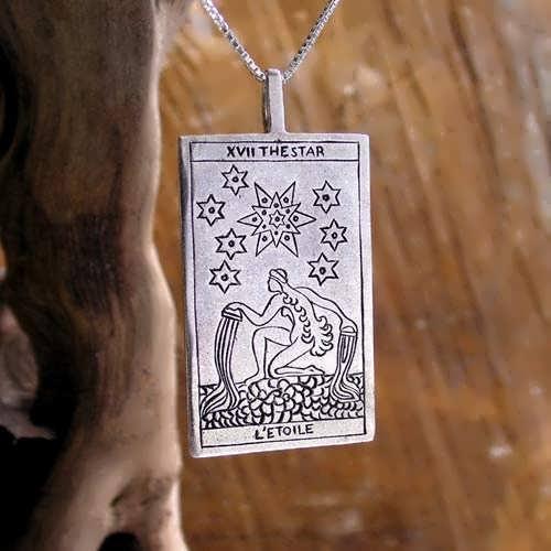 Tarot Star Card Pendant Silver