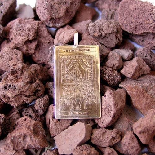 Tarot Chariot Card Pendant Gold