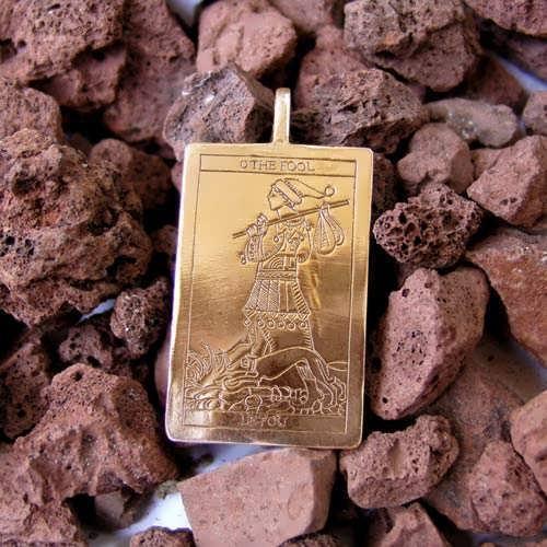 Tarot Fool Card Pendant Gold