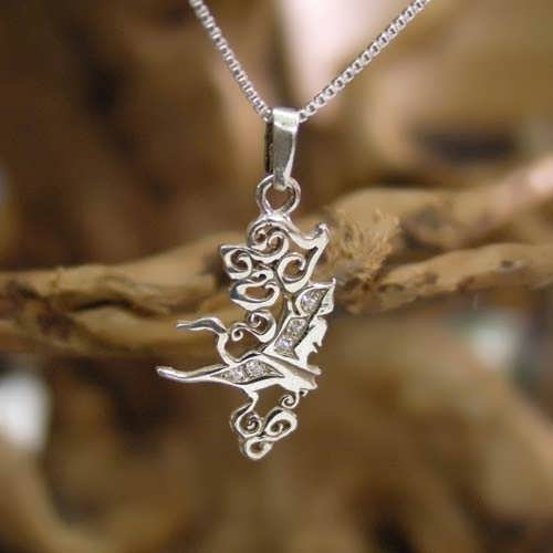 Air Element Pendant Silver small with Cubic Zirconia