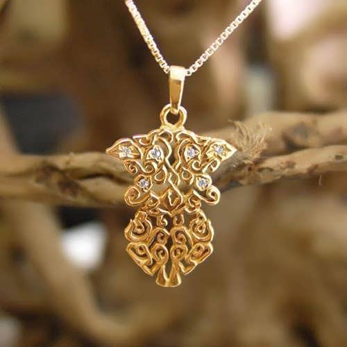 Earth Element Pendant Gold Small With Diamonds