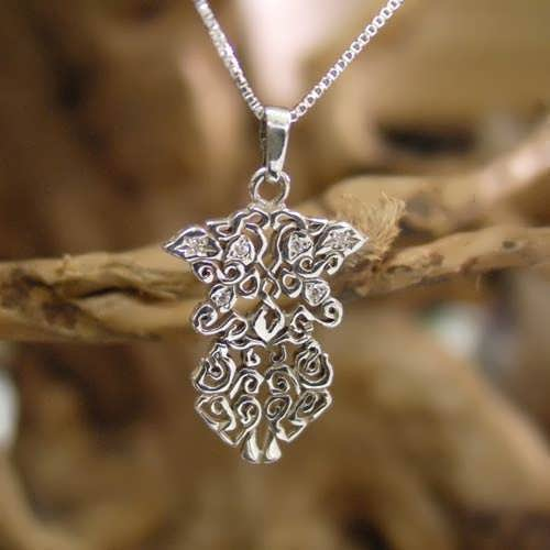 Earth Element Pendant Silver Small with Cubic Zirconia