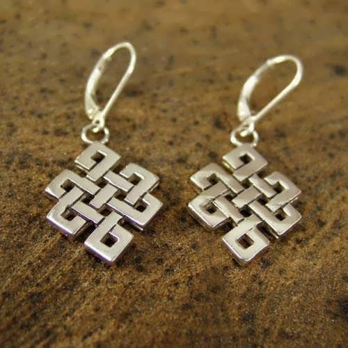 Tibetan Knot Earrings Silver