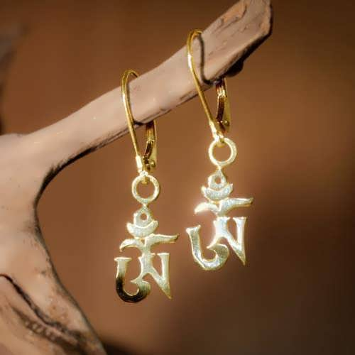 Om earrings gold