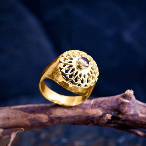 Torus Knot Ring Gold with Citrine