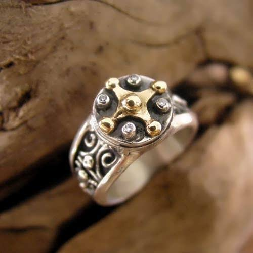 Mayan Venus Jupiter Ring Gold And Silver