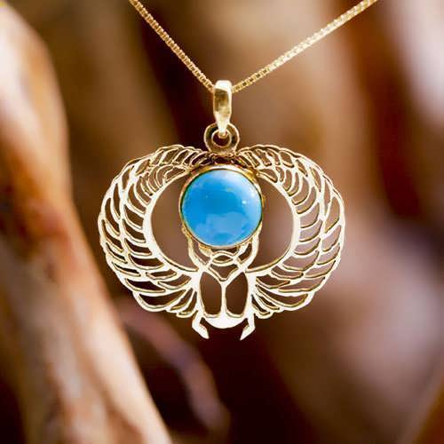 Winged Scarab Gold with Turquoise