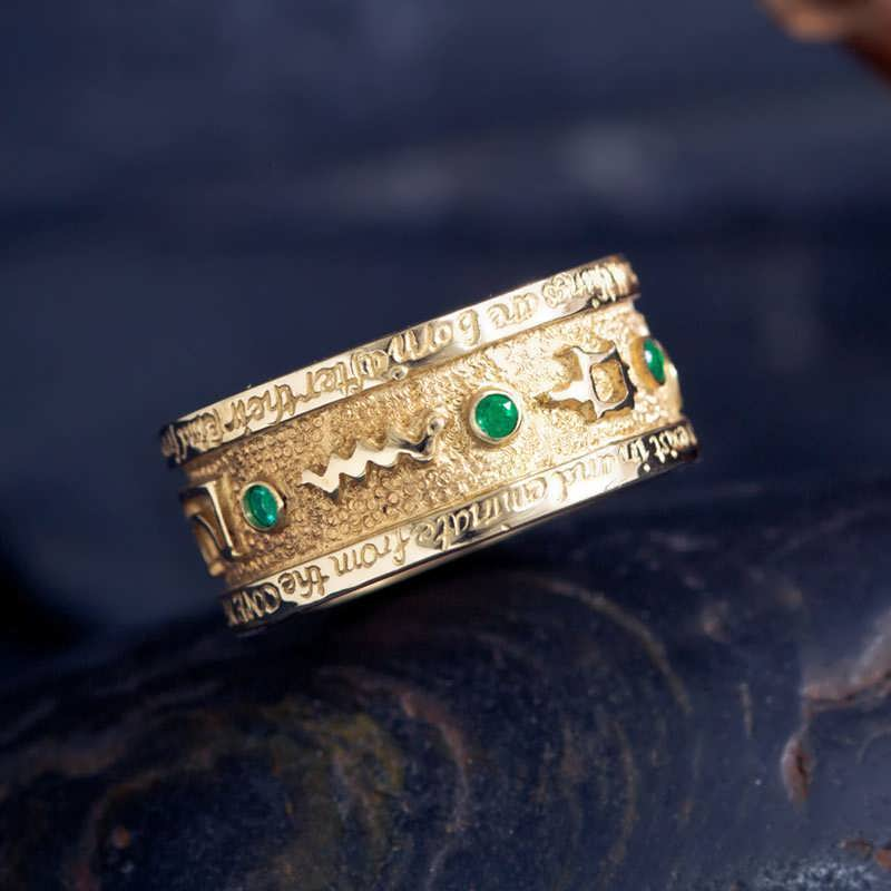 Gold Emerald Tablet Mercury Ring