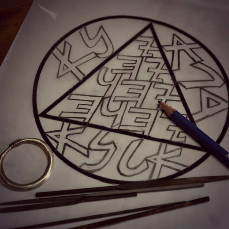 Copper Snake Talisman Drawing