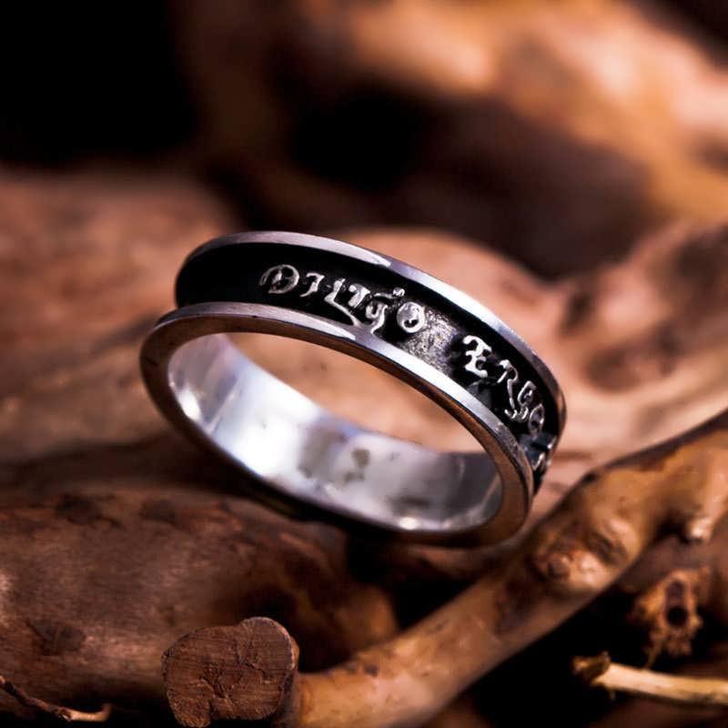 Diligo Ergo Sum Ring Silver Narrow
