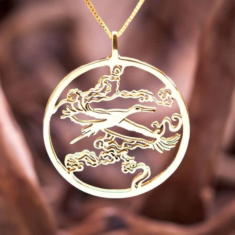 Japanese Stork Pendant Gold
