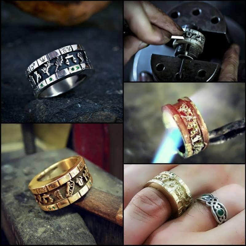 Gold Personalized Cosmic Sigil Talisman Ring